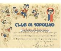 DIPLOMA DI ISPETTORE CLUB DI TOPOLINO  DISNEY anni '60? ORIGINALE