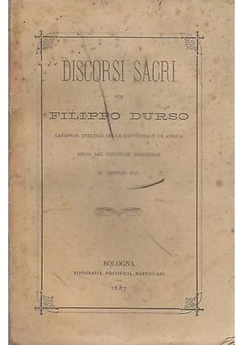 DISCORSI SACRI di Filippo Durso 1887  Tipografia Pontificia Mareggiani