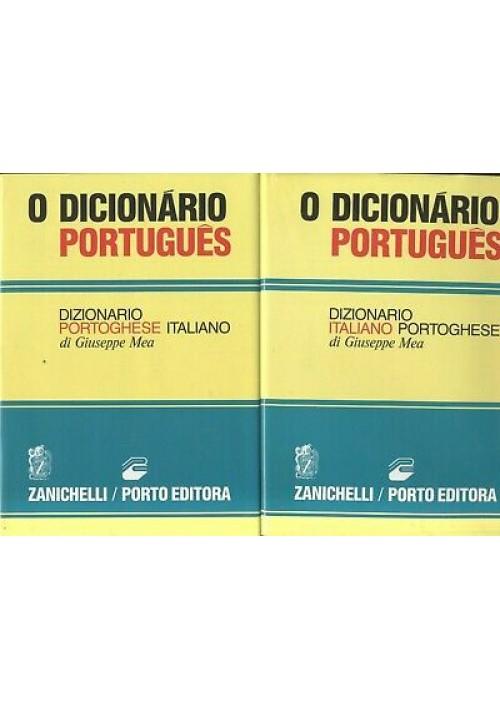 DIZIONARIO ITALIANO PORTOGHESE 2 volumi Giuseppe Mea 1990 Zanichelli portugues