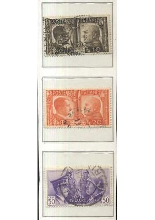 DUE POPOLI UNA GUERRA 3 VALORI 3 francobolli usati - Mussolini Hitler