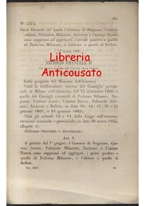 DUGNANO CASSINA AMATA PALAZZOLO MILANESE - REGIO DECRETO 1869 - INCIRANO BOLLATE