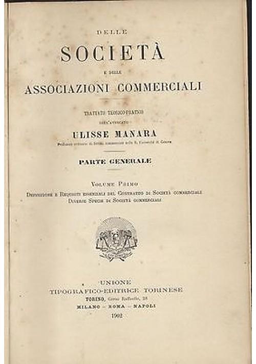 Delle società e associazioni commerciali di Ulisse Manara 5 volumi 1902 UTET *