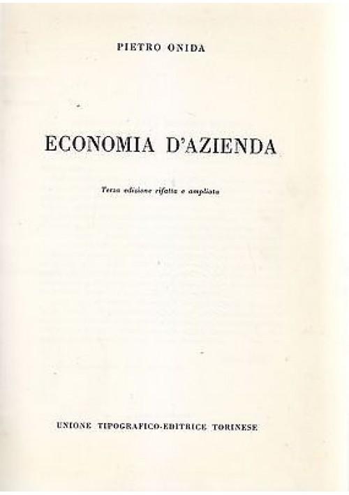 ECONOMIA D AZIENDA di Pietro Onida 1968 Unione Tipografica Editrice Torinese