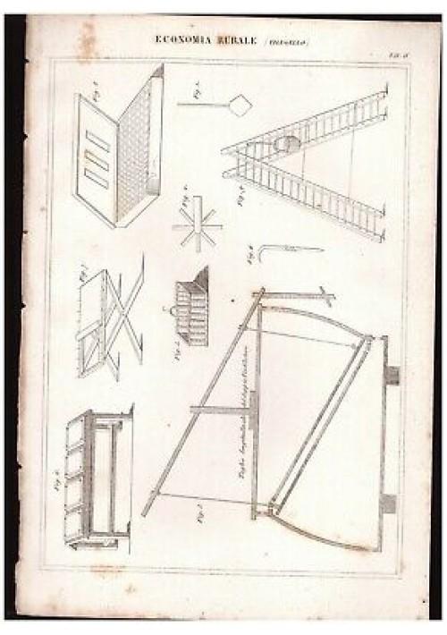 ECONOMIA RURALE Filugello tavola IV INCISIONE STAMPA RAME 1866 disegno