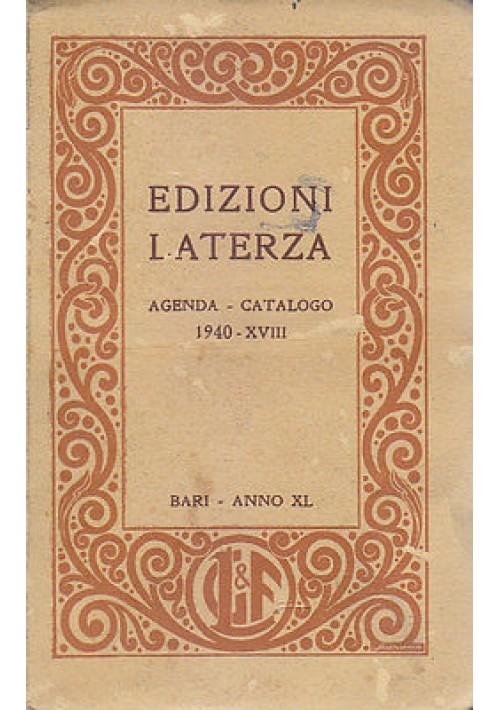 EDIZIONI LATERZA AGENDA E CATALOGO gennaio 1940 Bari Anno XL casa editrice