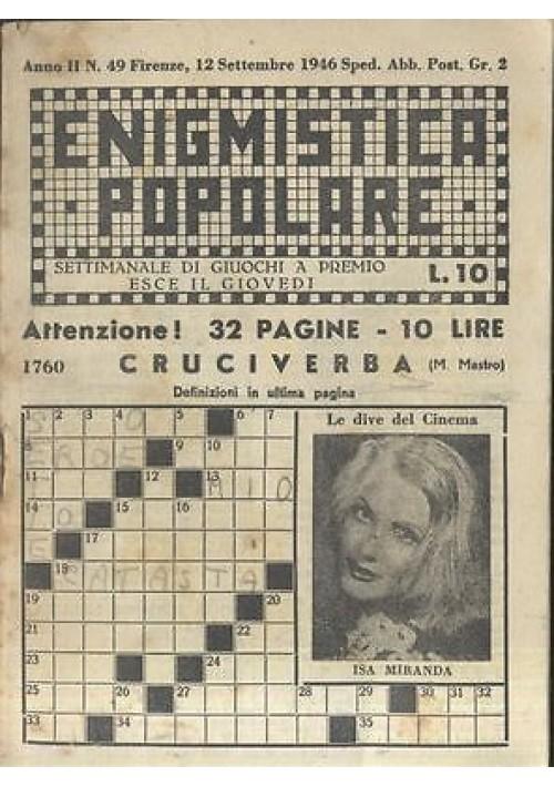 ENIGMISTICA POPOLARE anno II n 49 12 settembre 1946