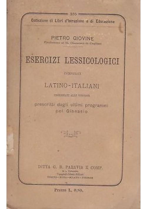 ESERCIZI LESSICOLOGICI COMPARATI LATINO ITALIANO 1885 di Pietro Giovine