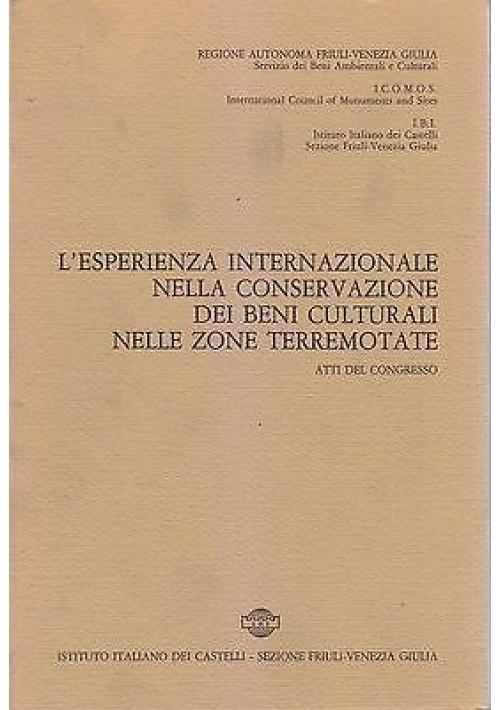 ESPERIENZA INTERNAZIONALE CONSERVAZIONE BENI CULTURALI ZONE TERREMOTATE 1982