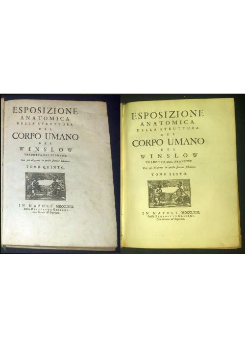 ESPOSIZIONE ANATOMICA STRUTTURA CORPO UMANO TOMO V - VI del Winslow 1763 Gessari