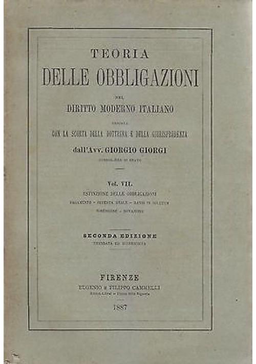 ESTINZIONE DELLE OBBLIGAZIONI di Giorgio Giorgi 1887 Eugenio e Filippo Cannelli