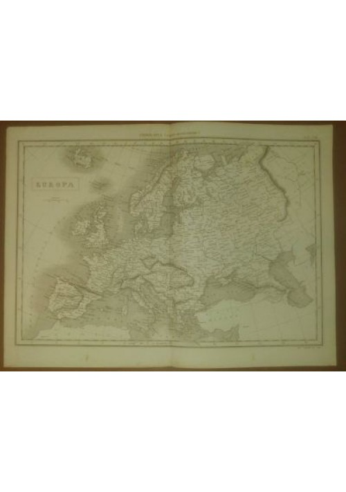 EUROPA CARTA GEOGRAFICA 1866 ORIGINALE INCISIONE STAMPA RAME TAVOLA GEOGRAFIA