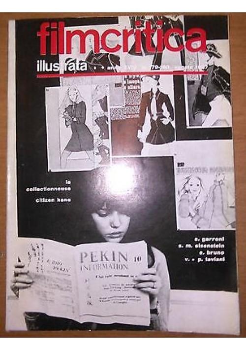 FILMCRITICA ILLUSTRATA N 179 180 agosto 1967 Garroni Eisenstein Taviani Bruno