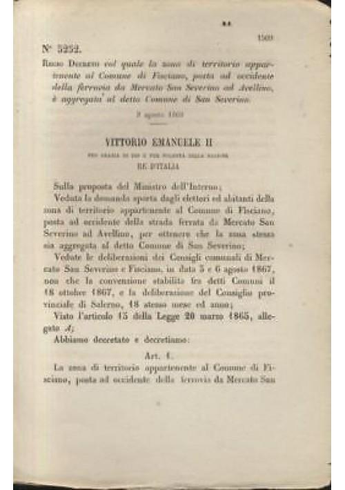 FISCIANO  REGIO DECRETO 1869 MERCATO SAN SEVERINO AD AVELLINO - originale antico