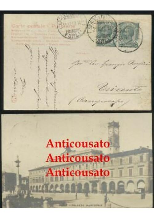 FORLI' PALAZZO MUNICIPALE CARTOLINA VIAGGIATA 1914 ORIGINALE formato piccolo