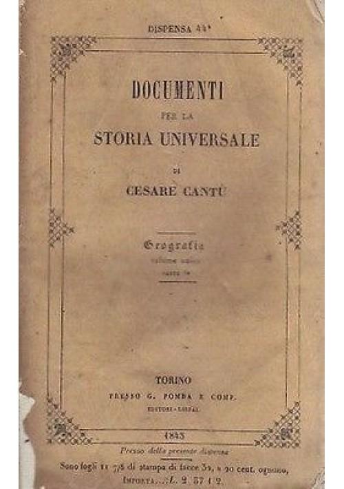 GEOGRAFIA di Cesare Cantù 2 volumi 1845 Pomba DOCUMENTI STORIA UNIVERSALE