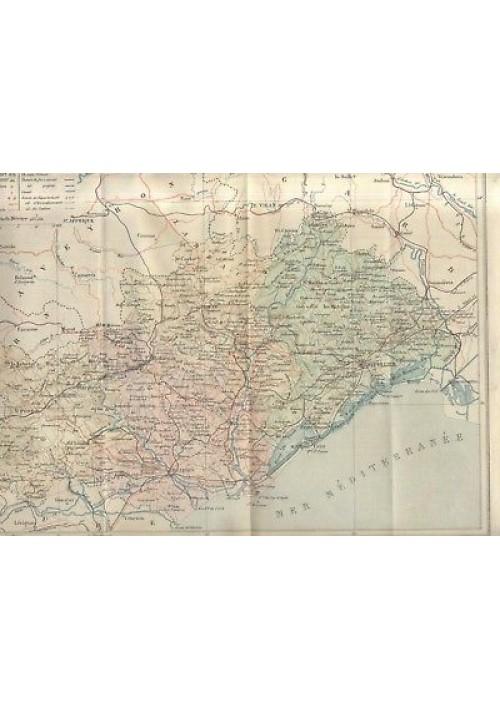 GEOGRAPHIE DE L'HERAULT Paul Joanne 1908 Hachette con carta geografica colori *