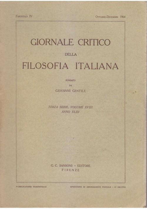 GIORNALE CRITICO DELLA FILOSOFIA ITALIANA Fascicolo IV ottobre dicembre 1964