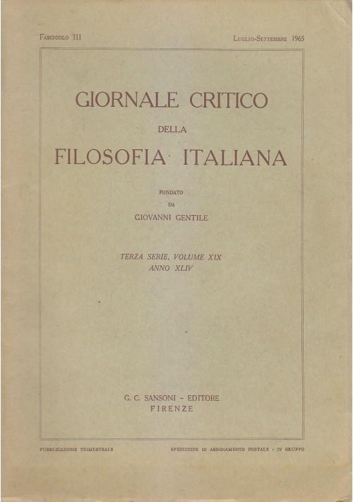 GIORNALE  CRITICO DELLA  FILOSOFIA ITALIANA luglio settembre 1965