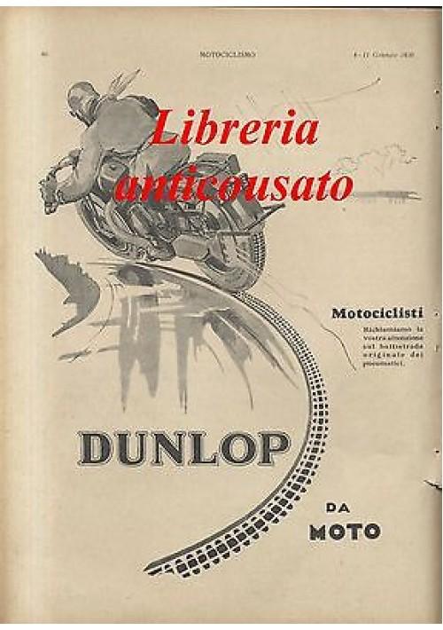GOMME DUNLOP DA MOTO - PUBBLICITA' ORIGINALE DEL 1930 - motociclismo