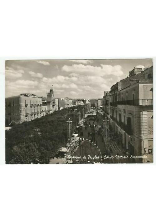 GRAVINA DI PUGLIA (BARI) Corso Vittorio Emanuele CARTOLINA viaggiata 1954