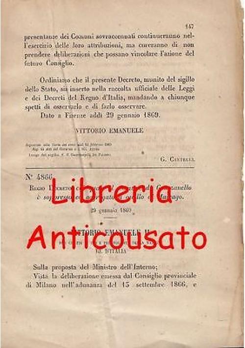 GRAZZANELLO SOPPRESSO - REGIO DECRETO 1869 - AGGREGATO A MAIRAGO originale epoca