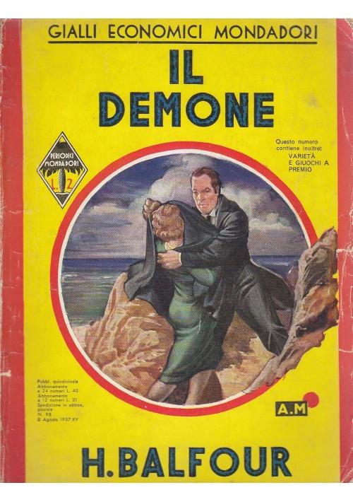 IL DEMONE di H Balfour 8 agosto 1937 Mondadori Editore gialli economici