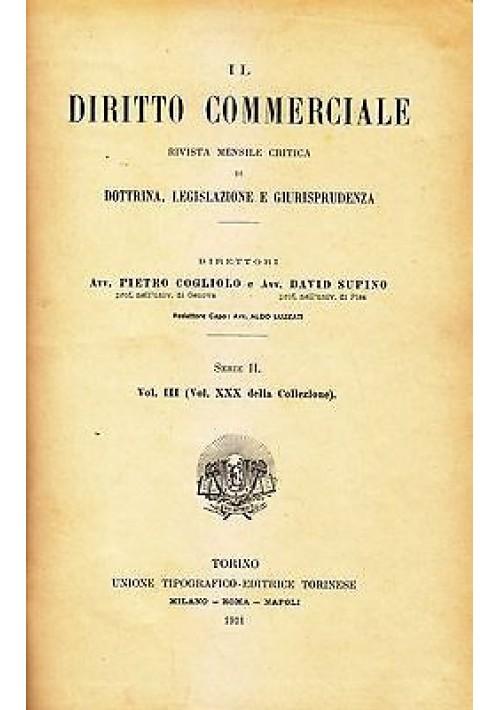 IL DIRITTO COMMERCIALE serie II vol III rivista mensile giurisprudenza 1911 UTET