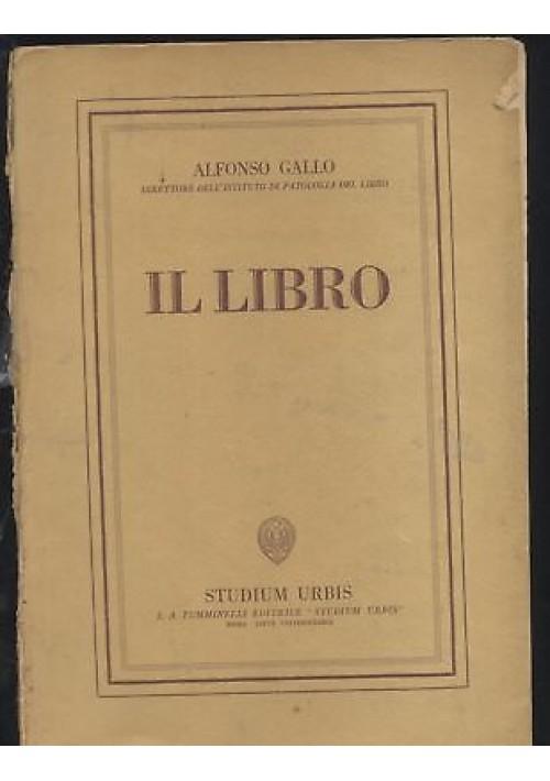 IL LIBRO Alfonso Gallo 1940(?) Studium Urbis Tumminelli bibliofilia