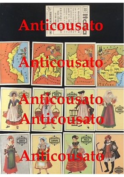 ITALIA IL MAGNIFICO ALBUM Panini 25 figurine Regioni e costumi regionali anni'70