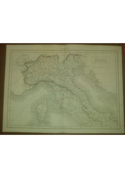 ITALIA SETTENTRIONALE CARTA GEOGRAFICA 1866  INCISIONE STAMPA RAME TAVOLA
