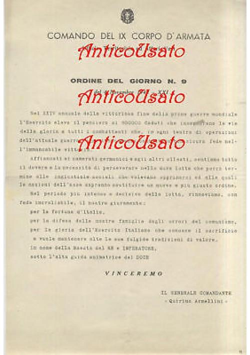 IX CORPO D'ARMATA ORDINE DEL GIORNO 4 novembre 1942 - XXIV anniversario vittoria
