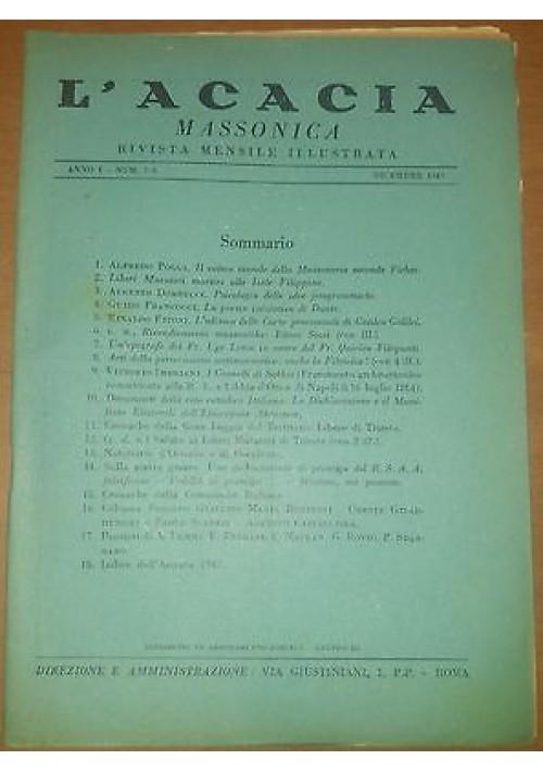 L ACACIA MASSONICA rivista mensile illustrata Anno I n. 7 e 8 dicembre 1947 MASSONERIA