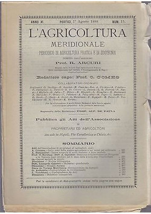 L AGRICOLTURA MERIDIONALE 1 agosto 1888 periodico agricoltura pratica Portici