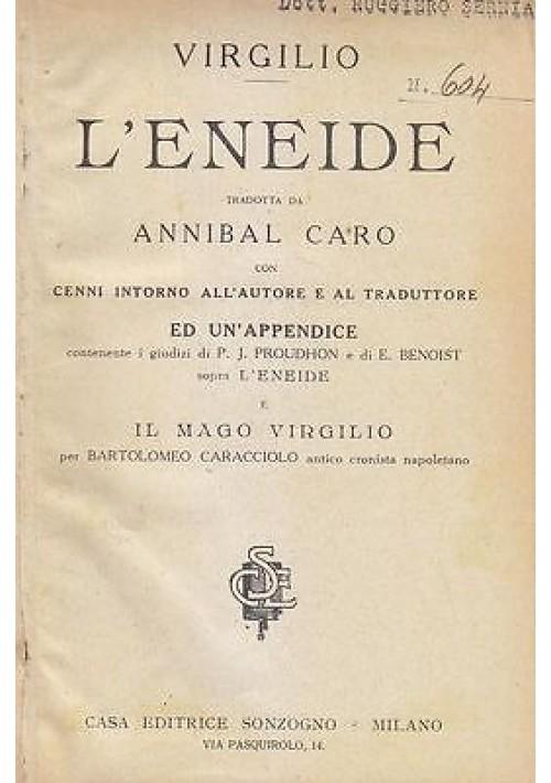 L'ENEIDE TRADOTTA DA ANNIBAL CARO di Virgilio  1922? Sonzogno il mago Virgilio