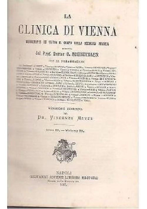 LA CLINICA DI VIENNA Schnitzler anno III volume III - 1887 Giovanni Giovene ed.