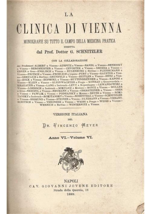 LA CLINICA DI VIENNA anno Vi vol. VI  monografie medicina pratica 1889 Jovene