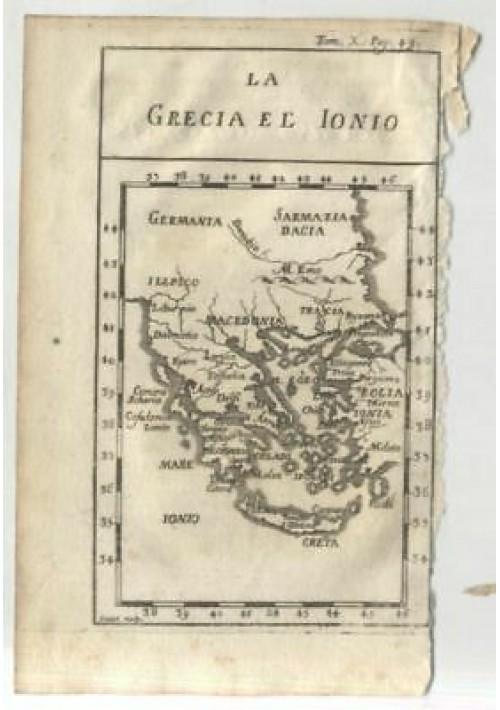 LA GRECIA E LO IONIO 1740 INCISIONE STAMPA RAME ANTICA ORIGINALE GRAVURE