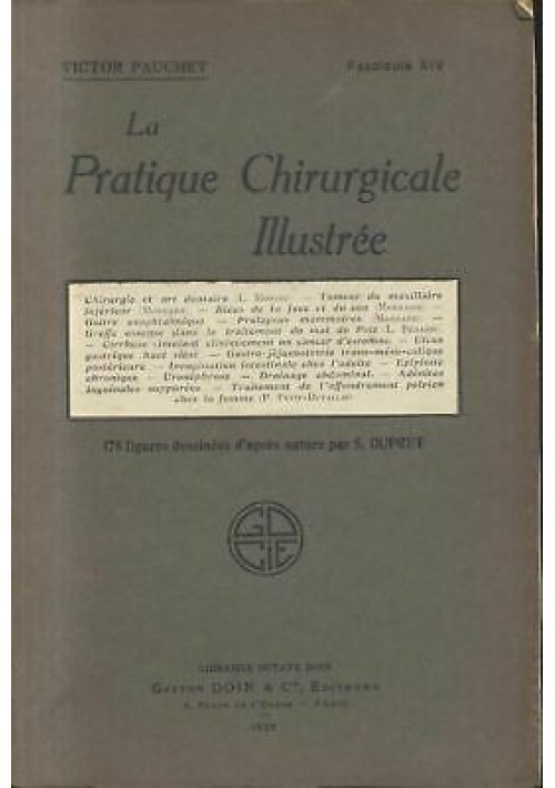 LA PRATIQUE CHIRURGICALE ILLUSTREE Victor Pauchet 1929 Gaston Doin fascicule XIV