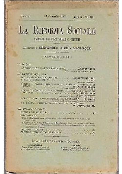 LA RIFORMA SOCIALE rassegna di scienze sociali e politiche 1897 Roux Frassati