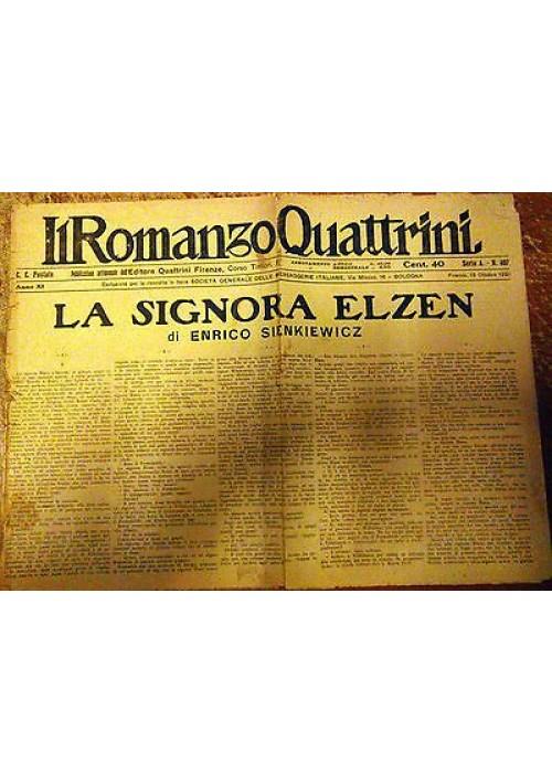 LA SIGNORA ELZEN Enrico Sienkiewicz 13/10/1921 romanzo Quattrini serie A n 489
