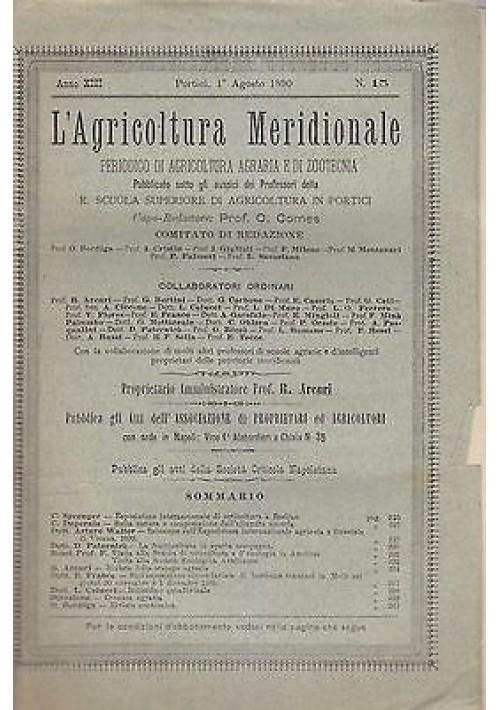 L'AGRICOLTURA MERIDIONALE 1 agosto 1890 periodico  agricoltura pratica Portici