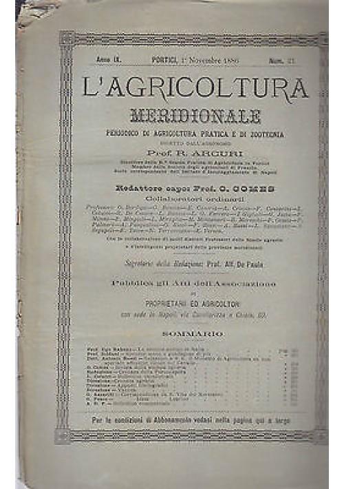 L'AGRICOLTURA MERIDIONALE 1 novembre 1886 periodico  agricoltura pratica Portici