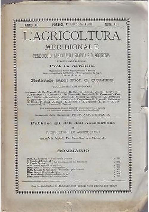 L'AGRICOLTURA MERIDIONALE 1 ottobre 1888 periodico agricoltura pratica Portici