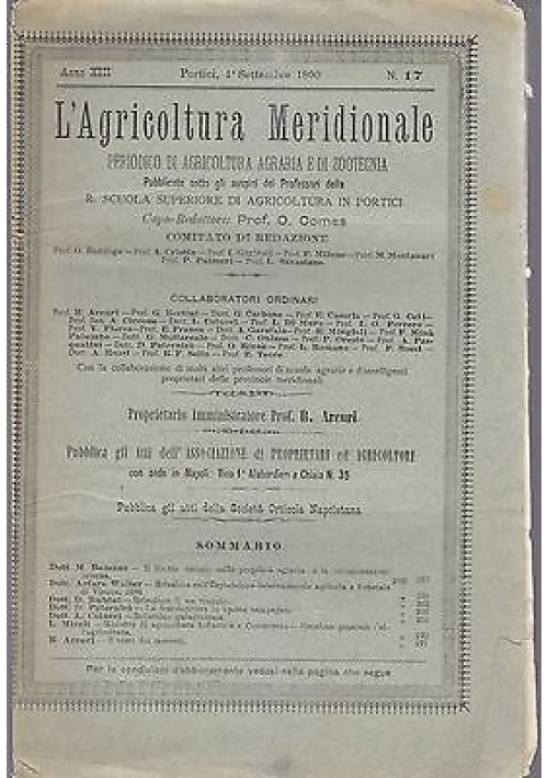 L'AGRICOLTURA MERIDIONALE 1 settembre 1890 agricoltura pratica Portici