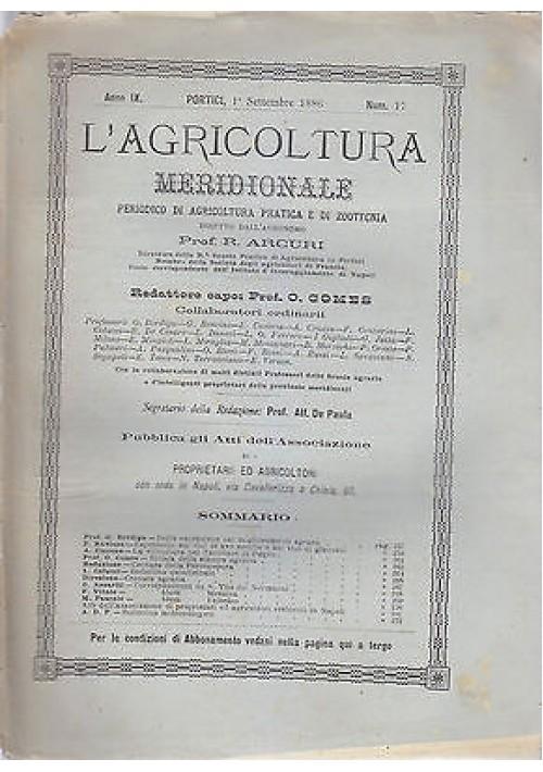 L'AGRICOLTURA MERIDIONALE 1 settembre1886 periodico  agricoltura pratica Portici
