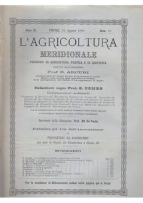 L'AGRICOLTURA MERIDIONALE 16 agosto 1886 periodico  agricoltura pratica Portici