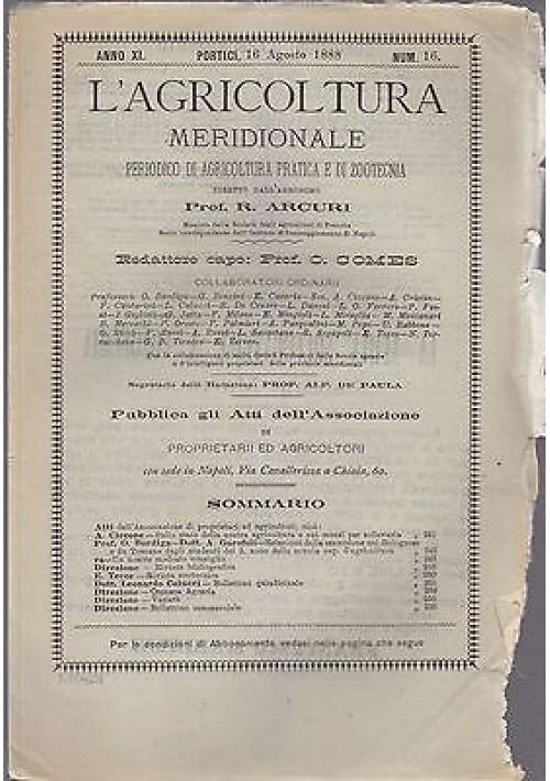 L'AGRICOLTURA MERIDIONALE 16 agosto 1888  periodico  agricoltura pratica Portici