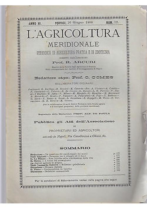 L'AGRICOLTURA MERIDIONALE 16 giugno 1888 periodico  agricoltura pratica Portici