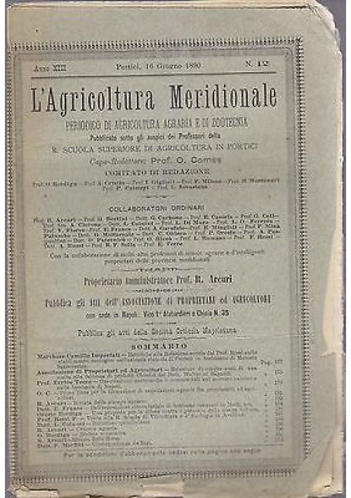 L'AGRICOLTURA MERIDIONALE 16 giugno 1890 periodico agricoltura pratica Portici