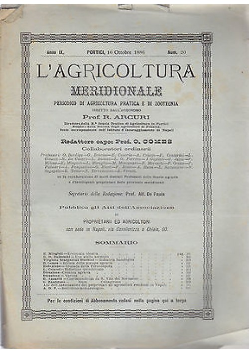 L'AGRICOLTURA MERIDIONALE 16 ottobre 1886 periodico  agricoltura pratica Portici